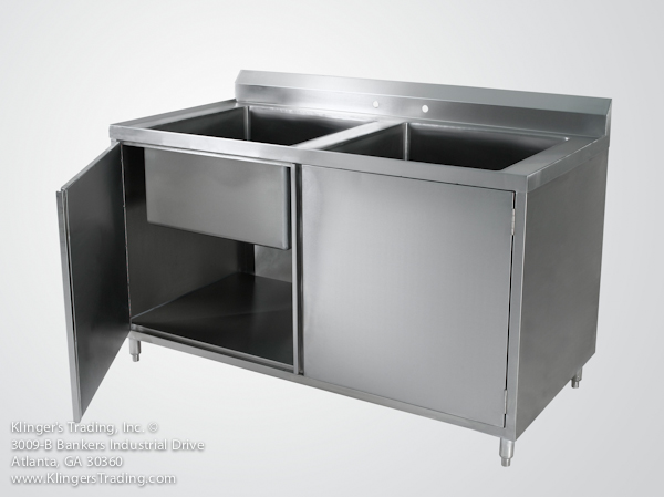 stainless steel storage cabinet with 2 sink bowls
