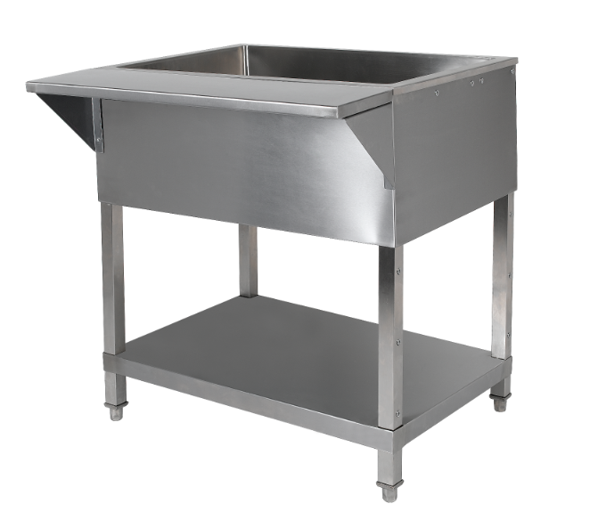 Cold Pan TableCommercial Salad BarIce Cooled Cold Food Pan Tables - 18 wide stainless steel work table