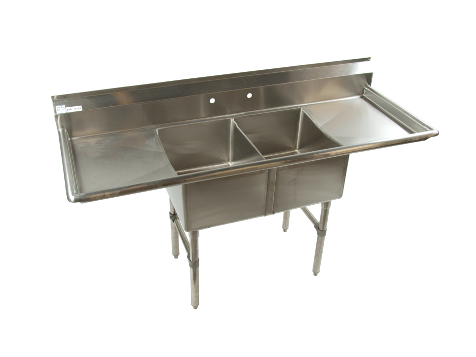 Stainless Sink with Double Bowls and Double Drain Boards
