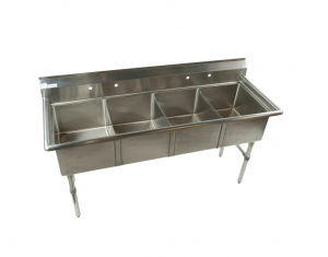 4 compartment stainless steel sink