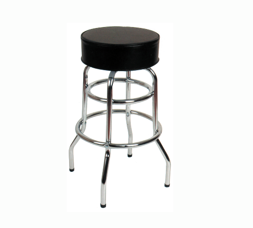 Commercial Chrome Double Ring Bar Stool Black Round Seat ...