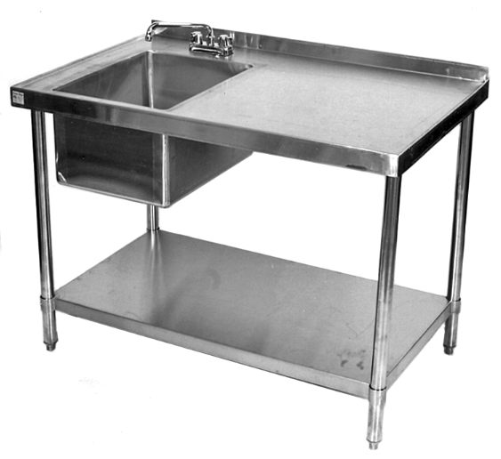 stainless steel table with prep sink