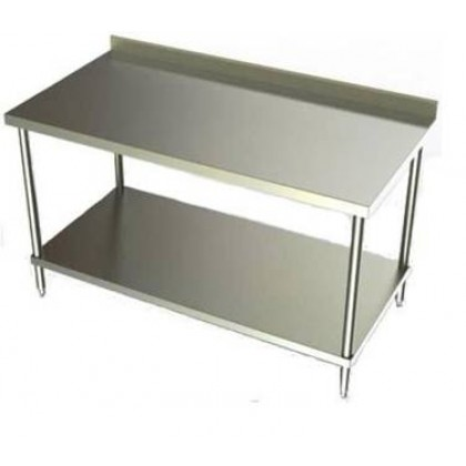 Stainless Steel Work TablesBacksplash Prep TableCommercial Kitchen - Stainless steel work table with sink
