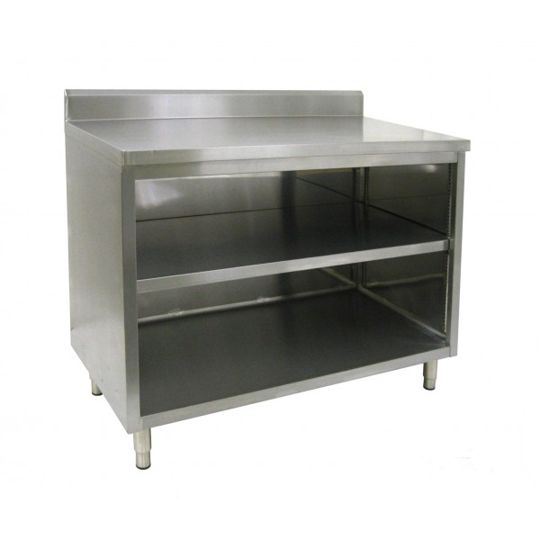 commercial kitchen dish cabinet with backsplash