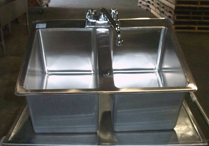 2 compartment stainless steel commercial drop in sink