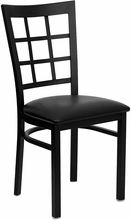 metal window back dining chair black