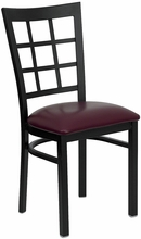 metal window back dining chair burgundy